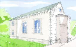 Rekonstruktionsentwurf der Synagoge in Laufenselden, vor 1938