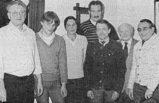 Vorstandsmitglieder des Heimatvereins im Gründungsjahr 1983 (von links nach rechts): Ernst Althen, Georg Diehl, Ute Klein, Erich Haag, Friedrich Schmidt, Friedrich Dietz, Wilhelm Landersheim